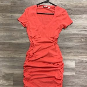 Michael Stars ruched dress - coral pink